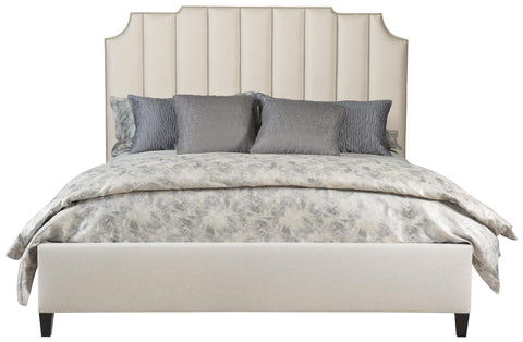 6/6 Bayonne King Bed 362-H56-Ar-56 Upholstered In B506-010B Finish Smoke With Nickel Nailhead Style 10