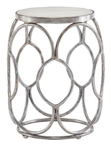Ginette Chairside Table Inset White Marble Top Iron Frame In Silver Leaf Finish Glides