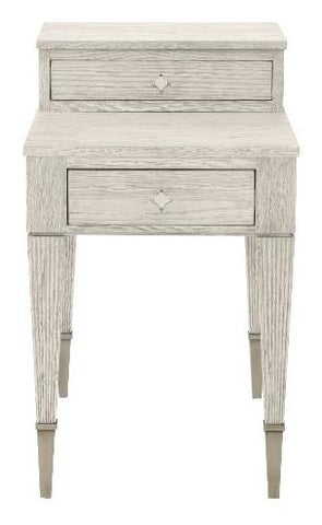 End Table White Oak Solids And Quartered White Oak Veneers Dove White Finish Two Drawers Reeded Legs With Metal Ferrules