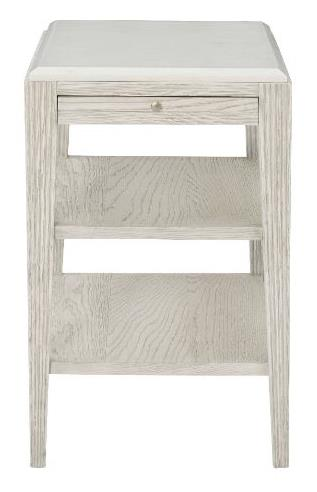 End Table Base White Oak Solids And Quartered White Oak Veneers Dove White Finish Pull-Out Shelf And Two Fixed Shelves Reeded Apron And Leg Posts