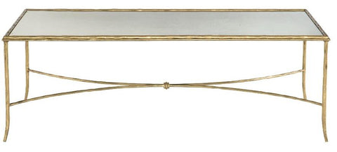 Rect Cocktail Table With Inset Antique Mirrored Glass Top Hammered Solid Steel Frame And Stretchers In Gold Leaf Finish