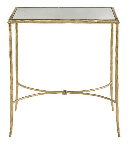 Metal End Table With Inset Antique Mirrored Glass Top Hammered Solid Steel Frame And Stretchers In Gold Leaf Finish