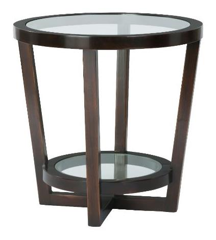 Zola Round End Table Tempered Clear Glass Top And Mohagany Base With Molasses Finish