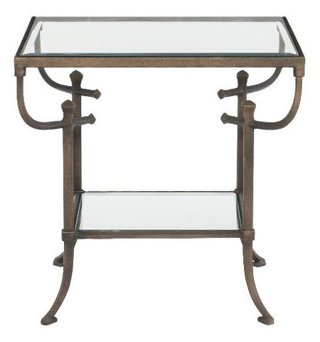 Hawthorne Metal End Table With Glass Top
