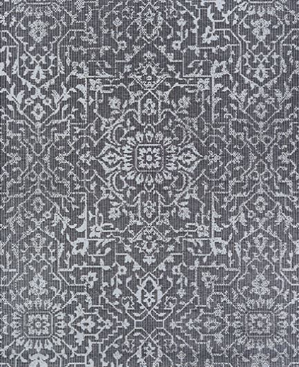 2 X 3.7 Monte Carlo Palmette Black Grey Ivory - Indoor/Outdoor