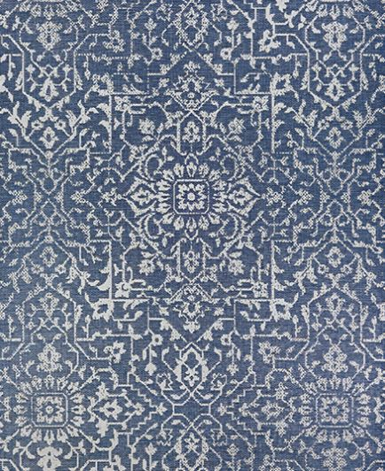 2 X 3.7 Monte Carlo Palmette Navy Ivory - Indoor/Outdoor