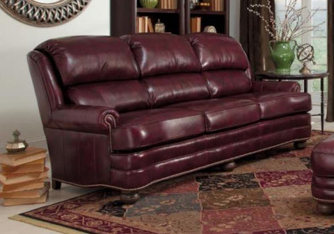Smith Brothers Of Berne Leather Sofa In 2911 Grd 2 Cherry Finish Antique  Brass Nails