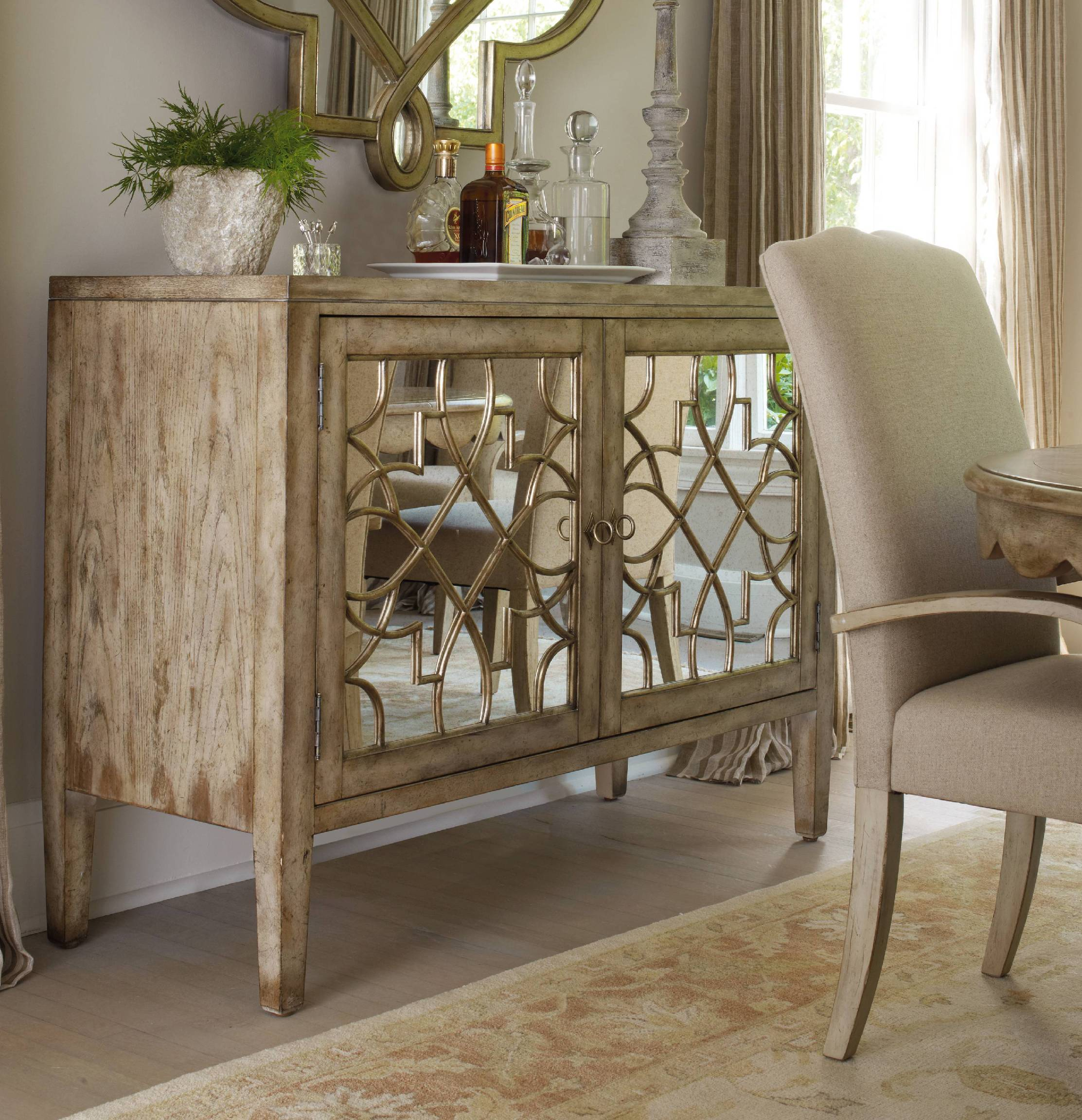 ... Hooker Furniture Living Room Sanctuary Two Door Mirrored Console    Surf Visage ...
