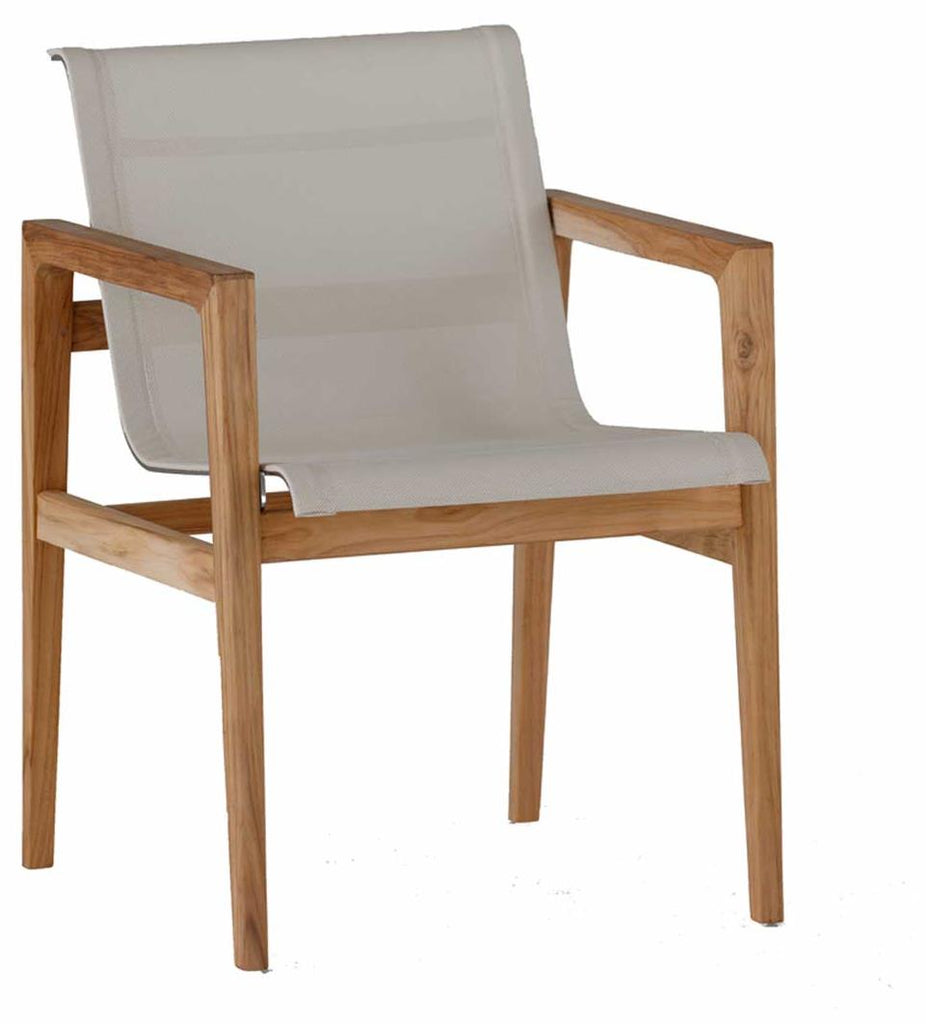Coast Teak Arm Chair Finish Natural Teak With Ivory Canvas Mesh Stainless Steel And Sculpted Teak With Mortise And Tennon Construction