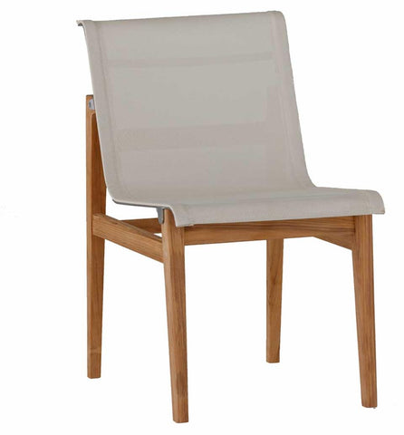 Coast Teak Side Chair Finish Natural Teak With Ivory Canvas Mesh Stainless Steel And Sculpted Teak With Mortise And Tennon Construction