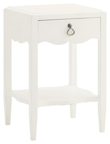 Water Street Bedside Table In Parchment White
