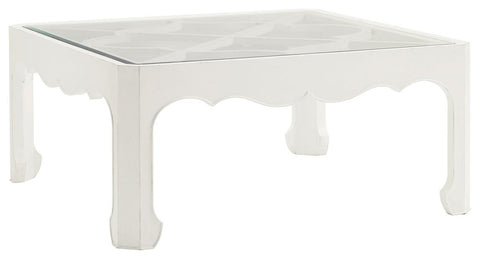 Casava Cocktail Table In Parchment White With Glass Top