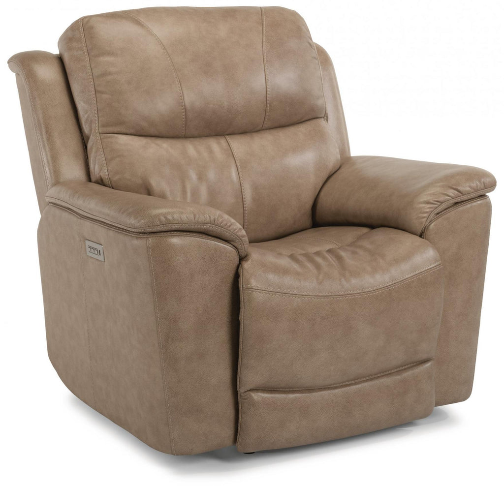 Cade Power Recliner With Power Headrest Power Lumbar And Lay Flat Mechanism With Extended Footrest Leather 637-80