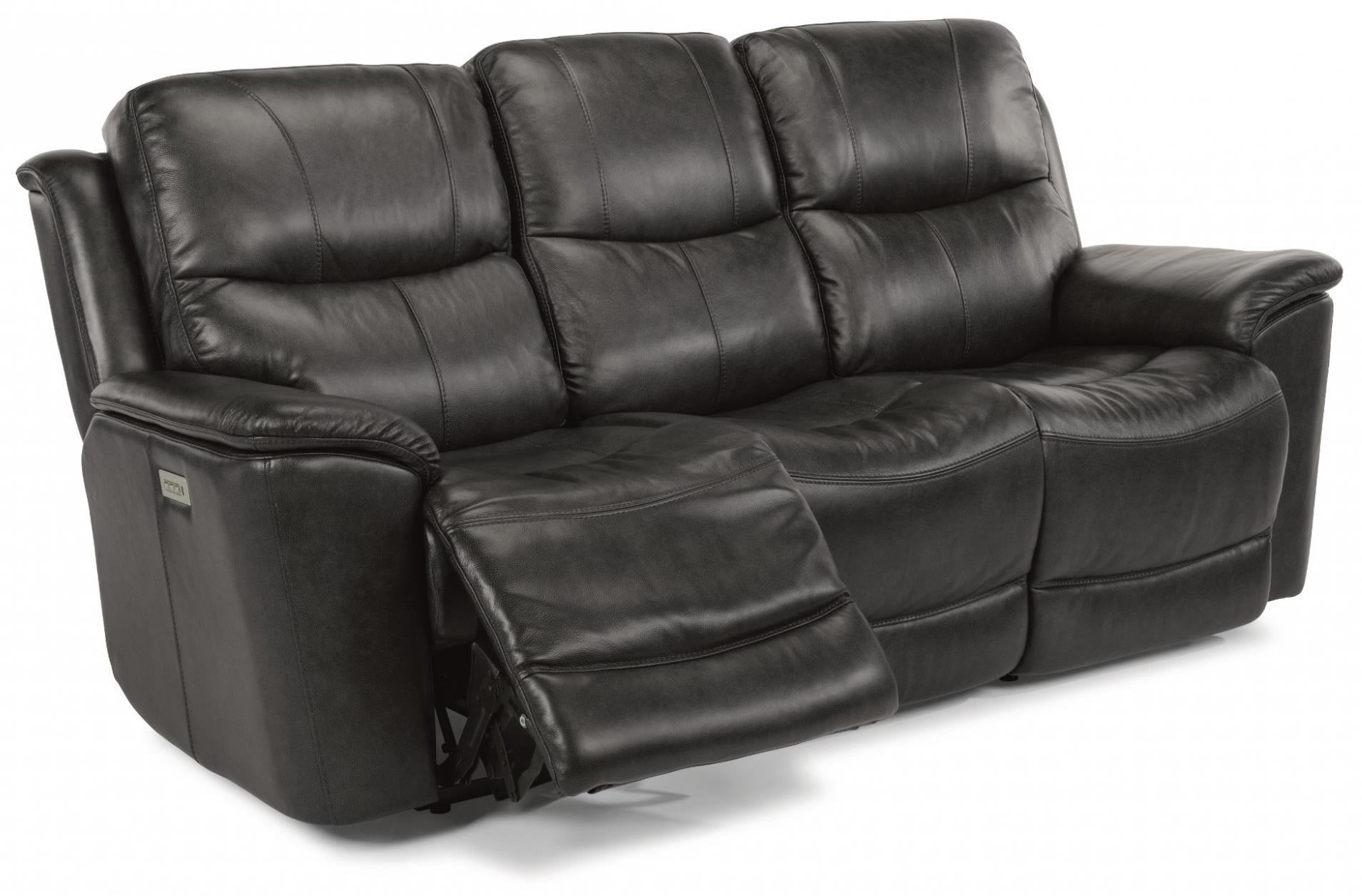 Cade Power Reclining Sofa With Power Headrests Power Lumbar And Lay Flat  Mechanism With Extended Footrest