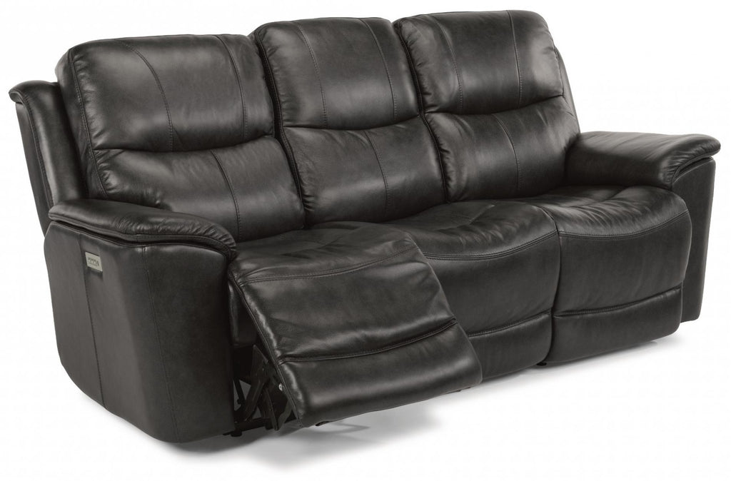 Cade Power Reclining Sofa With Power Headrests Power Lumbar And Lay Flat Mechanism With Extended Footrest Leather 637-80