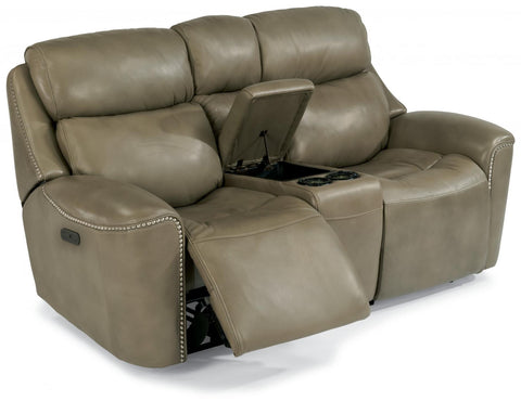Mystic Power Reclining Sofa With Power Headrest Leather Lm 014-15