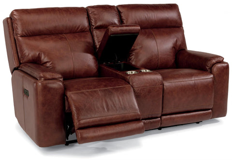Sienna Power Reclining Loveseat With Console And Power Headrest Leather Lm 361-54