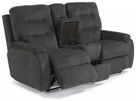 Kerrie Power Reclining Loveseat With Console Fabric 296-40