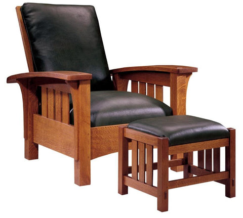 Bow Arm Morris Chair With Marshall Coil Seat Springs Finish 032 Onondaga Leather Rialto Coffee Gr 2
