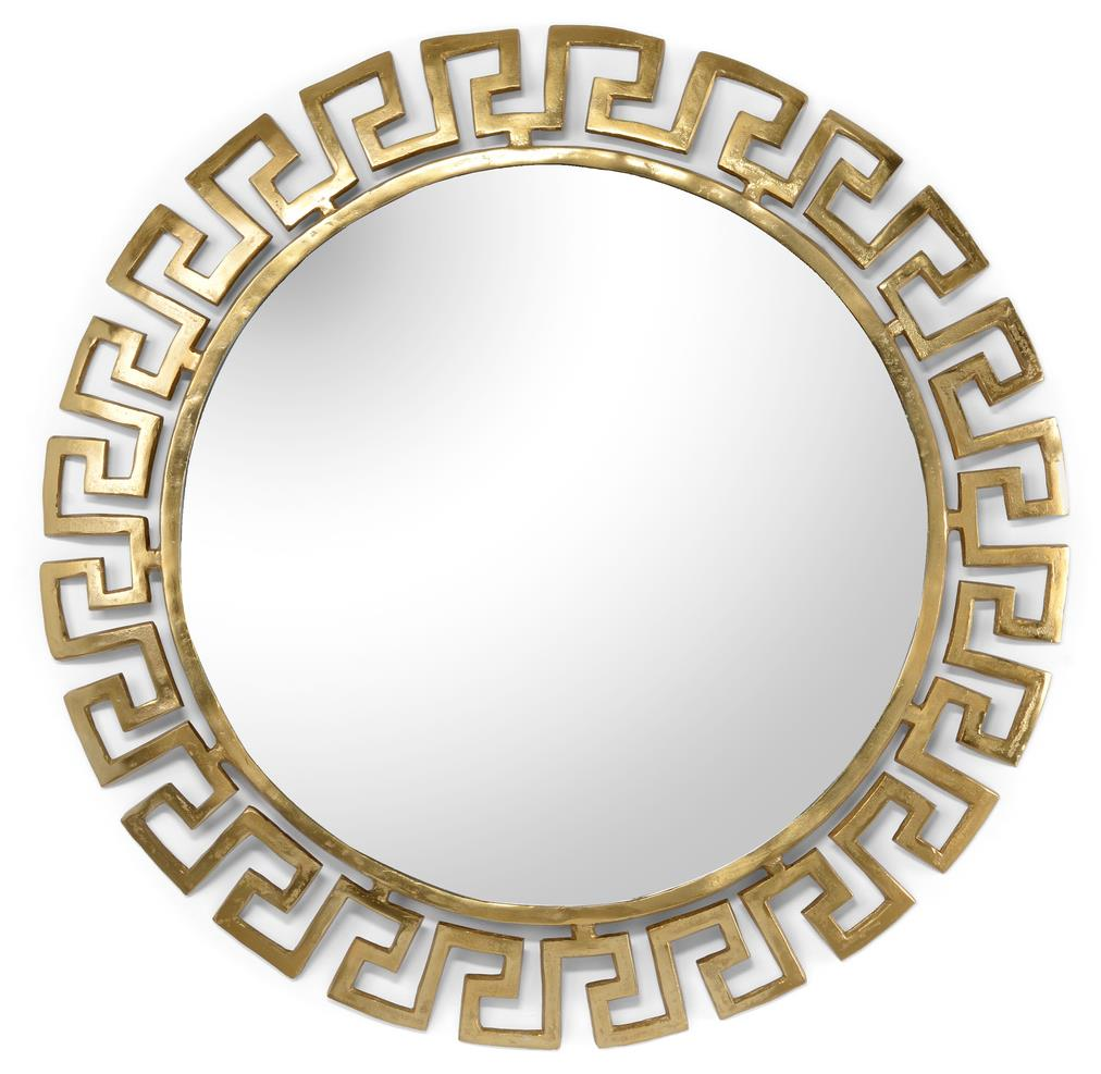 Athena Mirror Large Cast Aluminum With Textured Gold Plated Finish