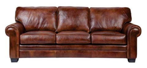 3 Seat Sofa Leather Brumpton Brown Gr 70 Rolled Arm 8 Way Hand Tied  Marshall Coil