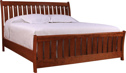 Queen Mission Sleigh Bed Solid Cherry Finish 003 Aged Old Mansion
