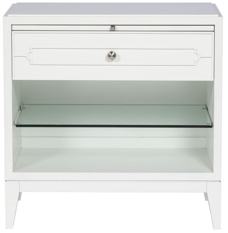 Holland Side Table Highlight Striping In Bm Oc-64 Pure White On Drawer Front Thin Classic Face Brushed Nickel Frosted Glass Pulls On One Column Centered On Each Pull Tapered Legs Dove Gray Finish