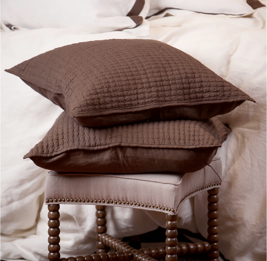 Catalina Linen Sham, Charcoal Brown, Std