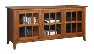 Carlisle TV Console Solid Maple With Glass Doors