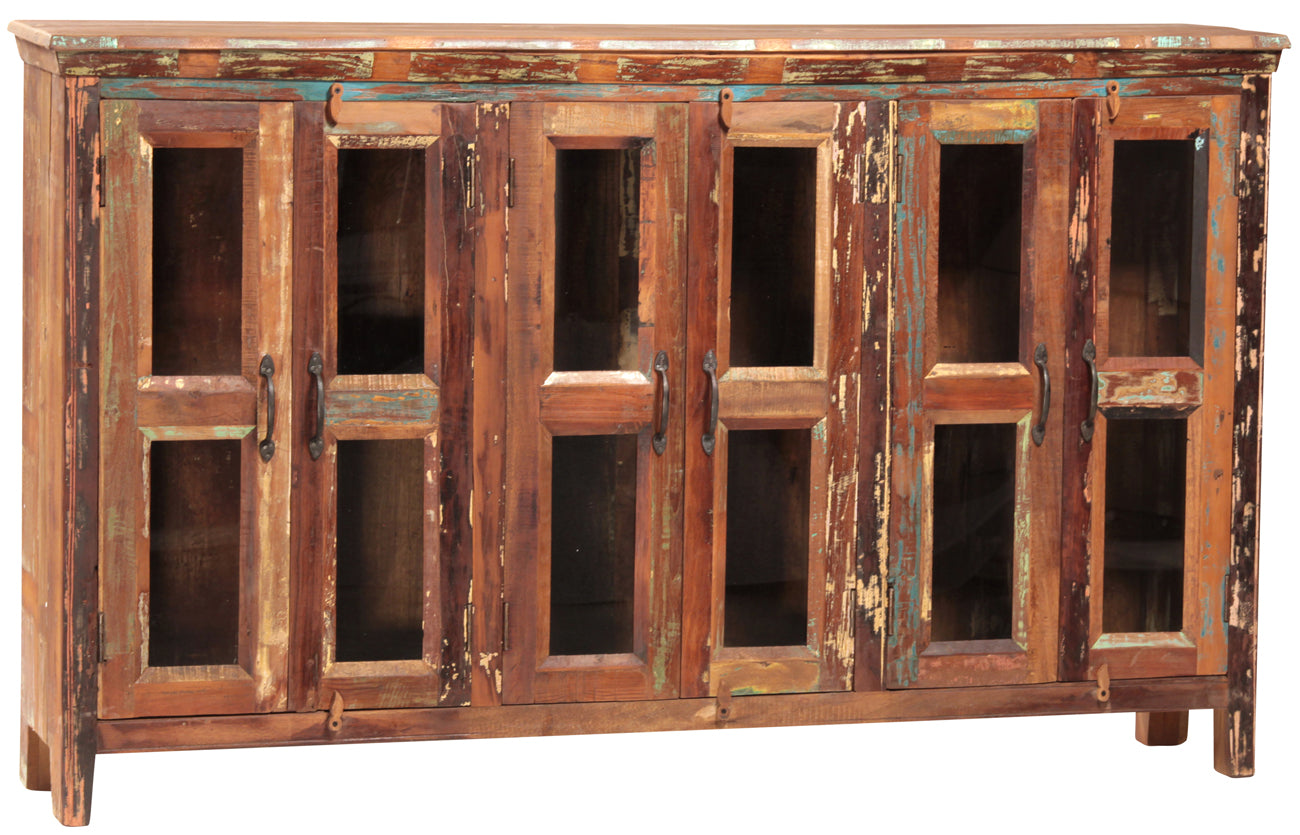 Nantucket Sideboard With Glass Doors Indian Hardwood Distressed Multi Color  Paint