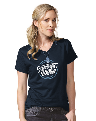 Ladies Navy V-Neck