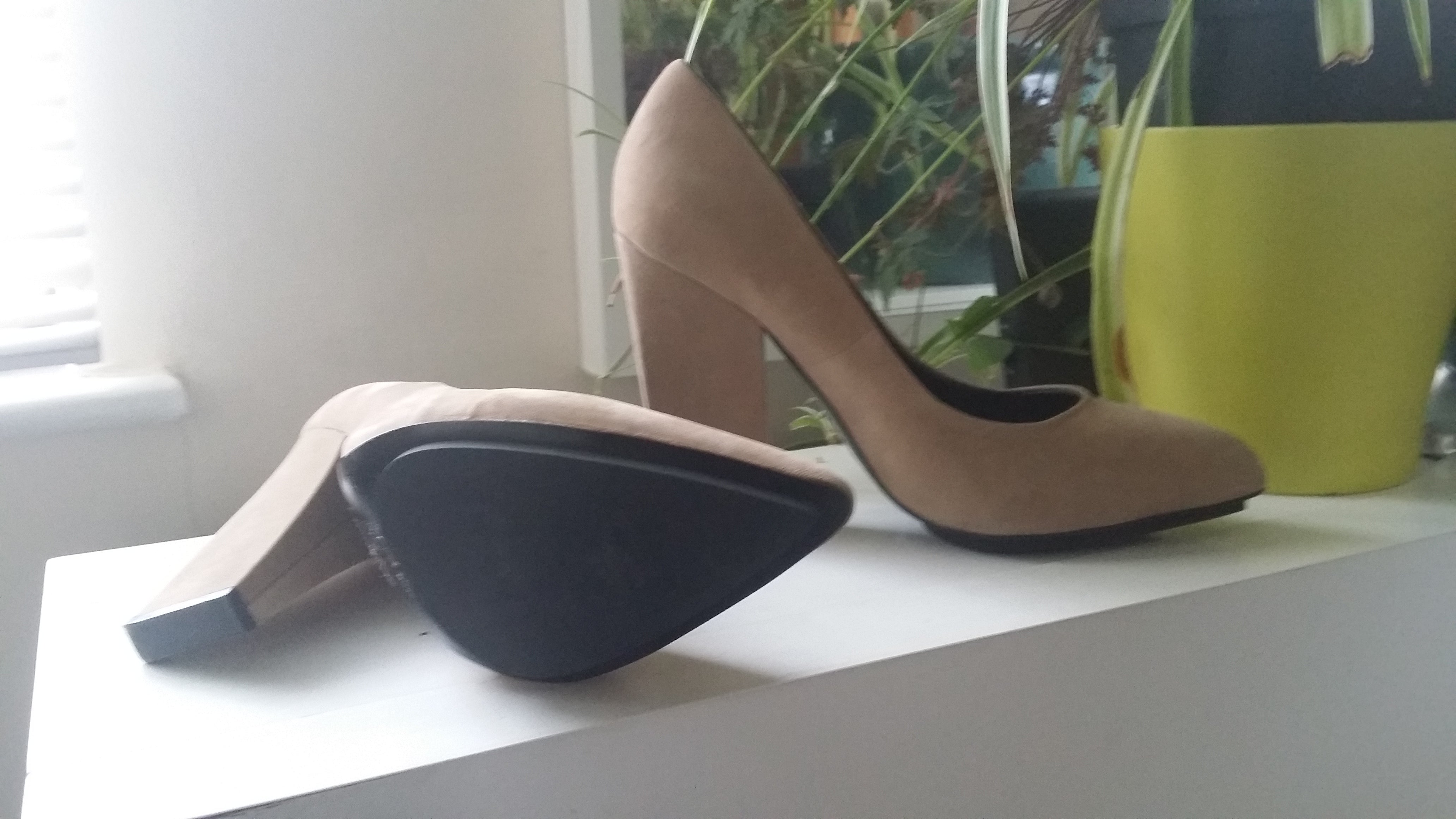 Suede look high heels