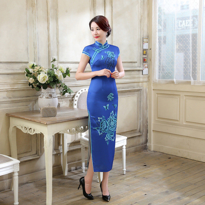 Vintage Chinese elegant long dress, Blue