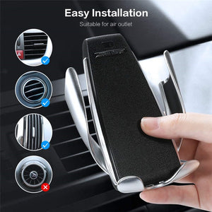 Wireless Car Charger Mount Infrared Sensor Automatic Clamp 10W Qi Fast Charge, UK delivery only
