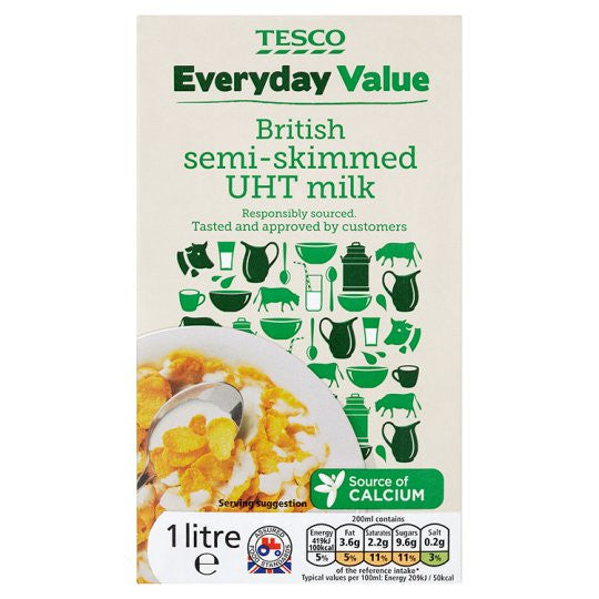 British Semi Skimmed Longlife Milk 1L