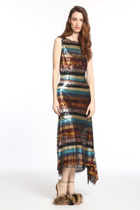 Designer Silk multi colored striped sequin!USA orders only