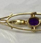 Edwardian 15ct gold Amethyst and seed pearl Brooch