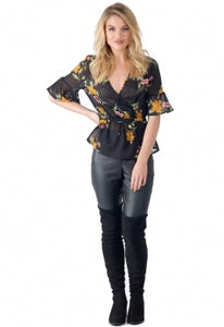 Interesting Black & Floral wrap top, worldwide delivery