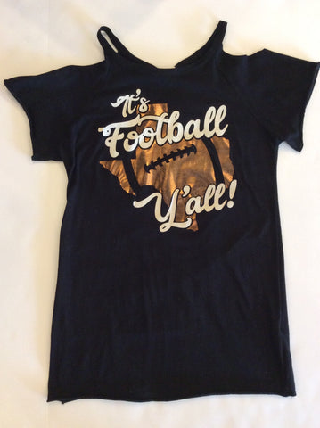 It's Football Y'all Cold Shoulder Top
