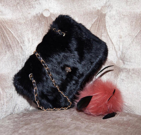 Black Fur Handbag