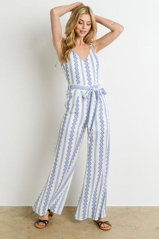 Ivory and Blue Jumpsuit