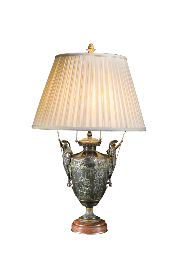 Barbedienne Bronze Roja Marble Warrior Armorial Lamp - GEORGE V COLLECTION, Table Lamp