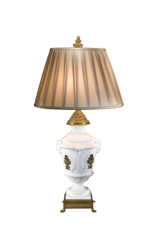 Bisque Fire White Porcelain Lamp with Bronze Mounts