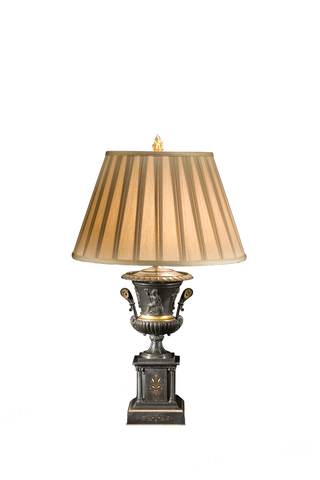 Single Patinated Bronze and Black Marble Lamp with Gilt