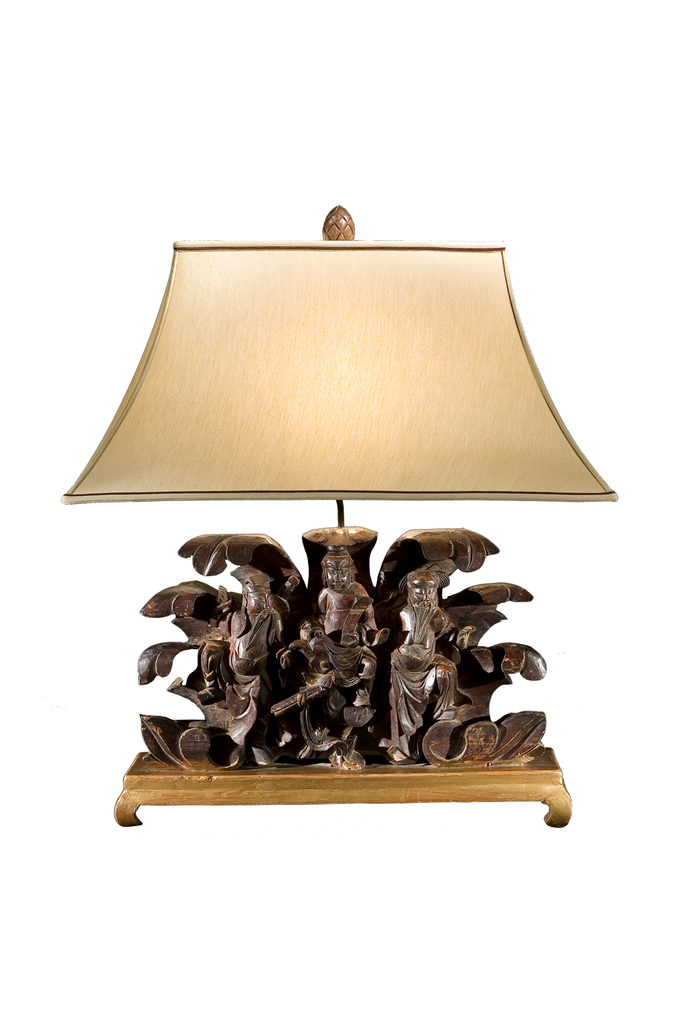 Figural Oriental Wood Carving Lamp - GEORGE V COLLECTION, Table Lamp