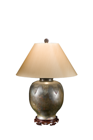 Large Round Ming Dynasty Bronze Lamp | Archaic Design