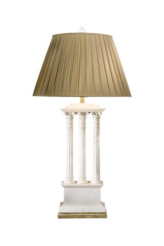 Three Column Alabaster Lamp