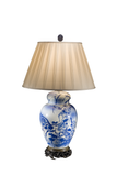 Meiji Period | Japanese Blue White Lamp | Inlaid Sterling - GEORGE V COLLECTION, Table Lamp