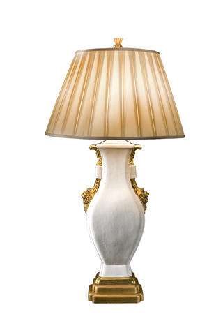 Monumental White | Gold Glaze Italian Lamp