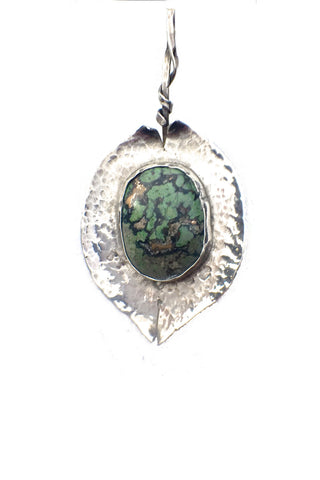 Hammered Silver Pendant | Mounted Stone Greens | Gold Colored Inclusions